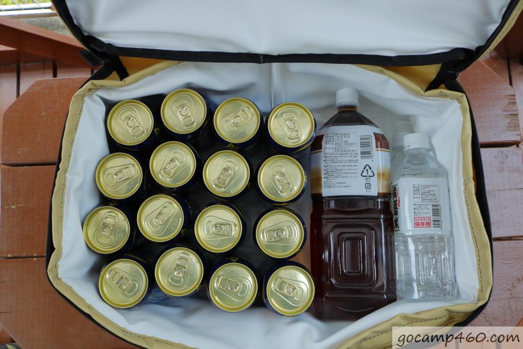 ビール16本とペットボトル2Lを1本、500mlを2本入れてみた